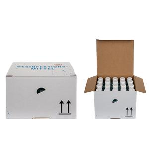 Das Yusil Handsept im geschlossenen Karton (100 ml Flaschen im 20er Karton)