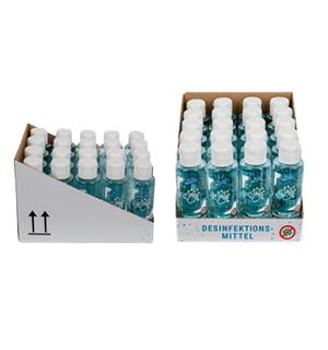 Das Handsept (100 ml Flaschen) von YuSil im 20er-Display für Ladenpräsentation