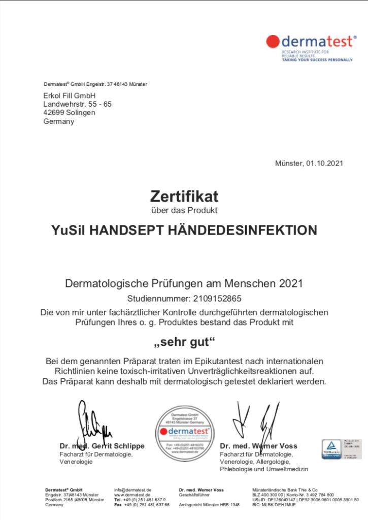 Yusil Handsept Hautverträglichkeit von Dermatest bestätigt