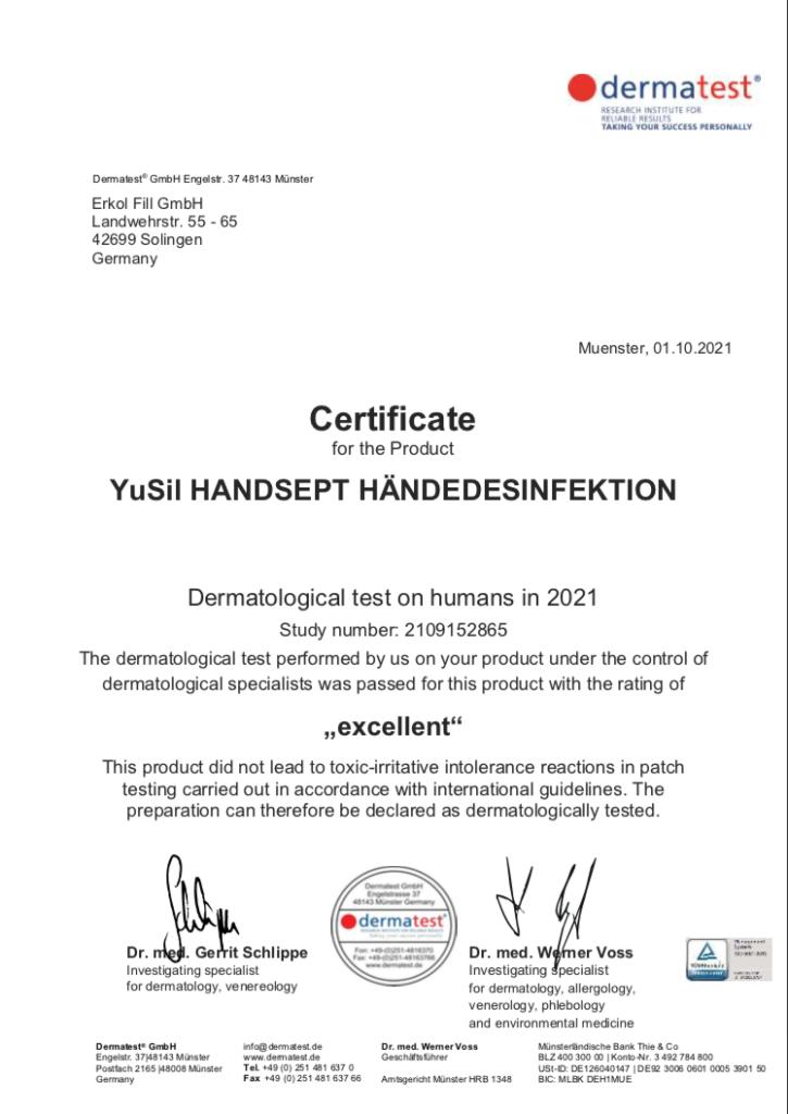YuSil Handsept Hautverträglichkeit bestätigt (Gutachten auf englisch))